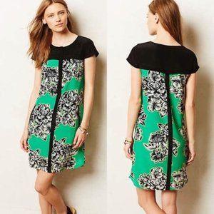 Maeve Anthropologie Ayame Green Floral Silk Dress